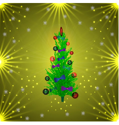 christmas tree in balls and bows golden background vector image