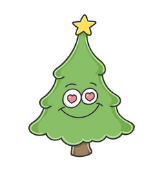 Christmas tree in love cartoon character vector