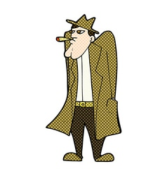 comic cartoon man in hat and trench coat vector image