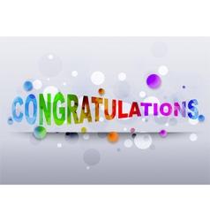 Congratulations rainbow text vector image