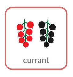 currant icon red black berry outline flat sign vector image