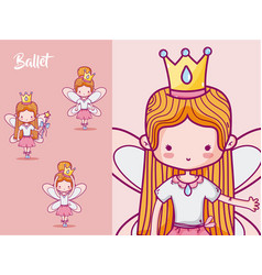 Cute girl ballet dancers vector