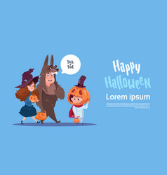 Cute kids wear monsters costume happy halloween vector