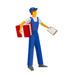 Delivery man holding red gift box and papers vector