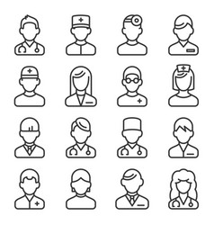Doctor icons set on white background line style vector