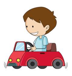 Doodle boy drive toy car vector