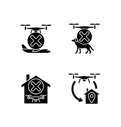 Drone instruction black glyph manual label icons vector
