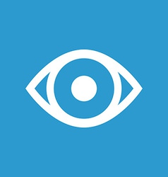 Eye icon white on the blue background vector