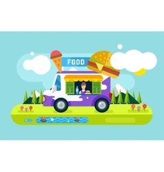 Fast food restaurant car Food festival outdoor vector