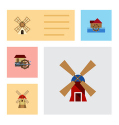 Flat icon mill set of watermill windmill wheel vector