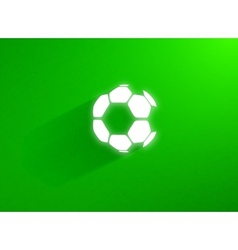 Flat soccer ball flying through the green grass vector image