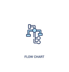 Flow chart concept 2 colored icon simple line vector