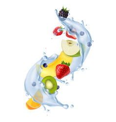 Fruit water splash realistic vector