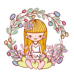 girl with hearts and flowers plants leaves vector image