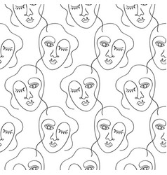 glamour one line drawing women faces pattern vector image