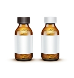 Glass Medical Bottle With Tablets Pills vector image