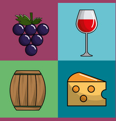 Glass wine grape barrel and cheese icon vector