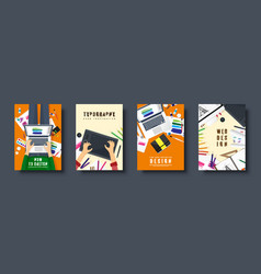 graphic and web design flat style covers set vector image