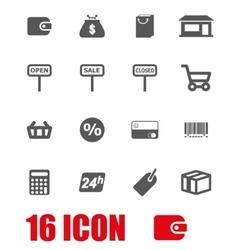 grey shop icon set vector image