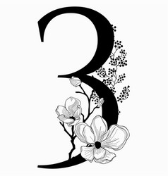 Hand drawn floral number three monogram and vector
