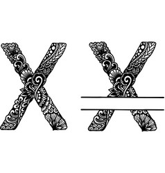 Hand drawn letter x vector