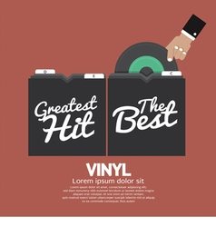 Hand Pick Up Vinyl From The Box vector