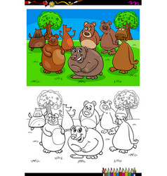 happy bears animal characters group color book vector image