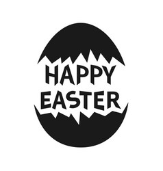 happy easter text painted cracked egg shell black vector image