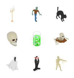 happy halloween icon set isometric style vector image