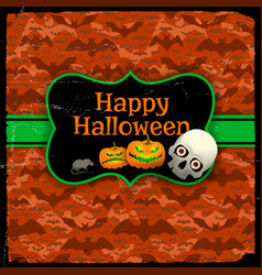 Happy halloween red seamless pattern with text vector