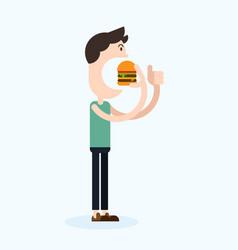 happy man eating hamburger flat design vector image