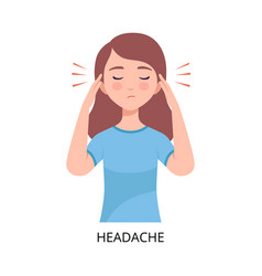 Headache girl suffering from symptom viral vector