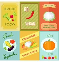 Healthy Food Mini Poster Set vector