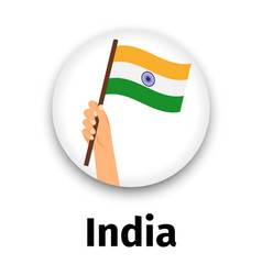 india flag in hand round icon vector image