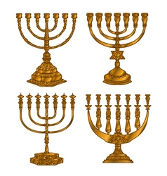 Jewish religious symbol menorah isolated on white vector image