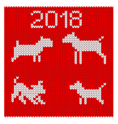 Knitted silhouettes of dogs vector