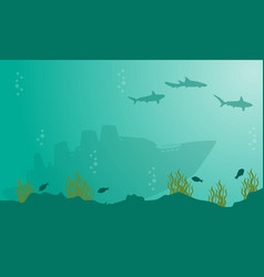 landscape of ship and shark underwater silhouettes vector image