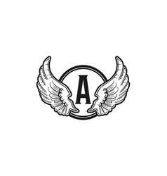 letter a and wing emblem logo vector image
