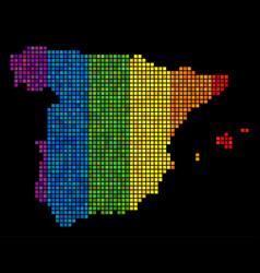 lgbt pixel spain map vector image