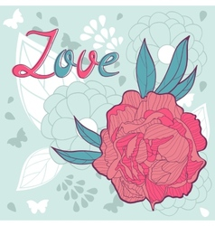 Love card with peonies vector image