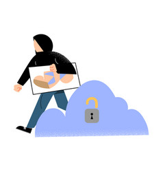 Man criminal stealing information from icloud vector