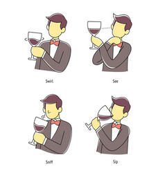 Man taste wine in four step method vector