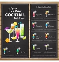 Menu Classic Alcohol Cocktails vector