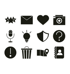 mobile application favourite email like camera vector image