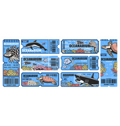 Oceanarium park tickets aquarium zoo vector