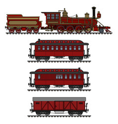 Old red american steam train vector