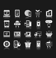 Online shop white silhouette icons set vector