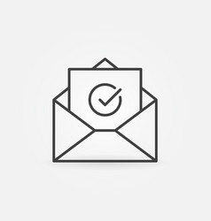 open envelope with checkmark outline icon vector image