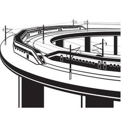 passenger trains cross bridge vector image