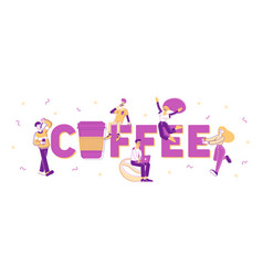 People drink coffee concept men and women buying vector